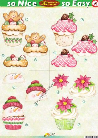Christmas Snowman Cup Cakes So Nice, So Easy Morehead 3D Die Cut Decoupage Sheet